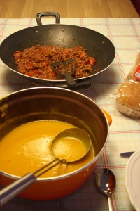 Pumpkin soup, Sloppy Joes recipe