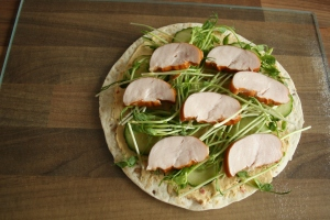 Inspiration: Wrap with smoked chicken and pea sprouts